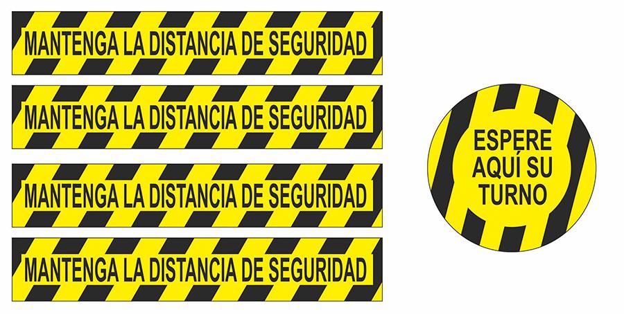 Vinilos señalizadores, mantenga la distancia de seguridad